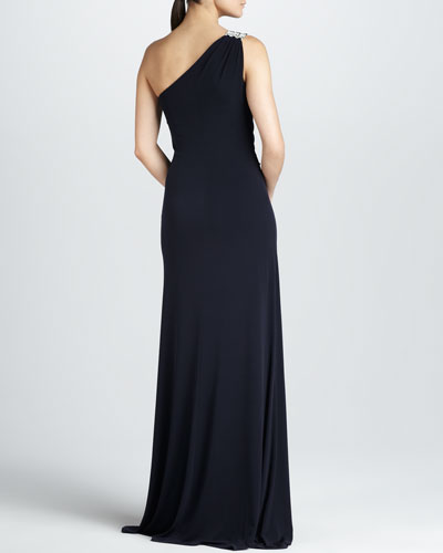 David Meister One-Shoulder Ruched Jersey Gown