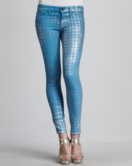 Legacy Blue Foil Houndstooth Skinny Jeans