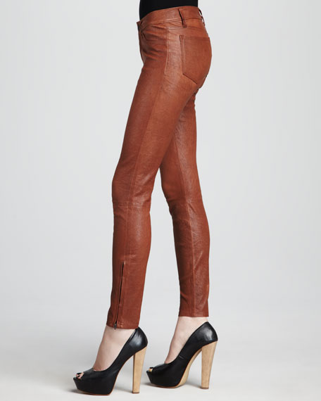 L8001 Cognac Leather Super Skinny Pants