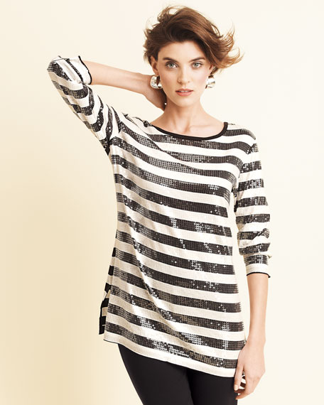 Striped Sequined Tunic, Petite