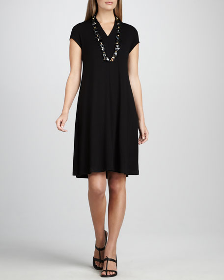 V-Neck Cap-Sleeve Jersey Dress, Petite