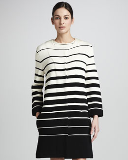 Adrienne Vittadini Striped Crepe Jacket