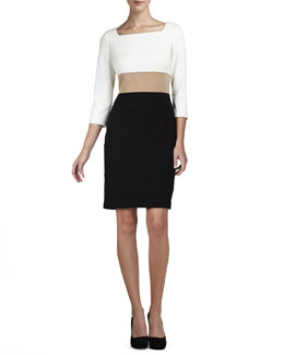 Kay Unger New York 3/4-Sleeve Colorblock Dress