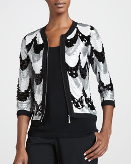 Michael Simon Sequined Scallop Jacket, Petite