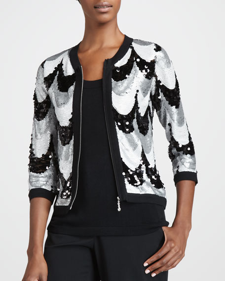 Sequined Scallop Jacket, Petite
