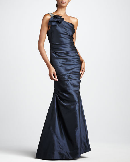 One-Shoulder Taffeta Gown