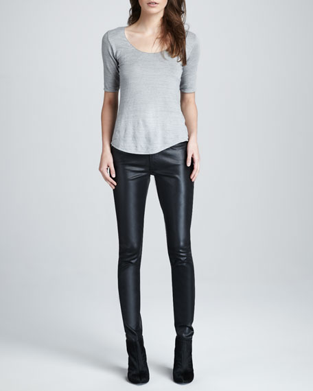 Skinny Black High Shine Gummy Jeans