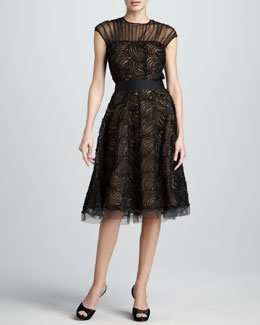 Tadashi Shoji Illusion-Neck Lace Cocktail Dress