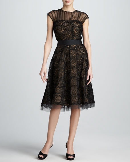 Illusion-Neck Lace Cocktail Dress