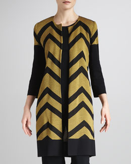 Misook Chevron-Stripe Long Jacket