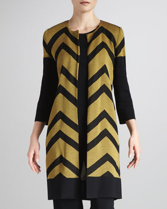 Chevron-Stripe Long Jacket