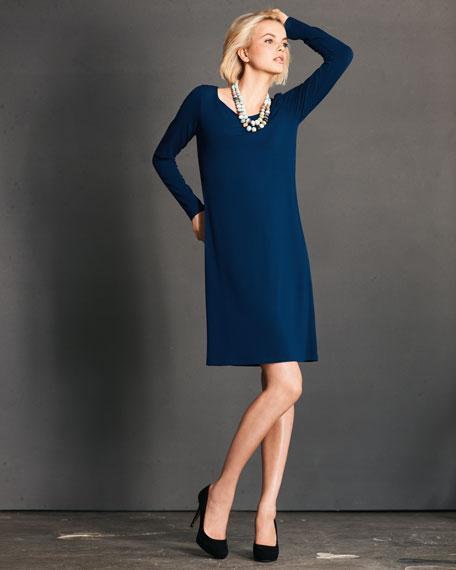 Jersey Scoop-Neck Dress, Petite
