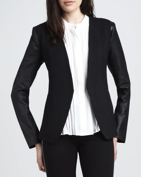 Leather-Sleeve Open Blazer