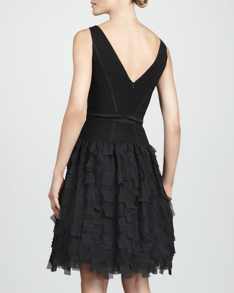 Aidan Mattox Tiered V-Neck Dress