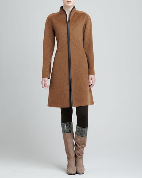 Roderick Leather-Trim Coat