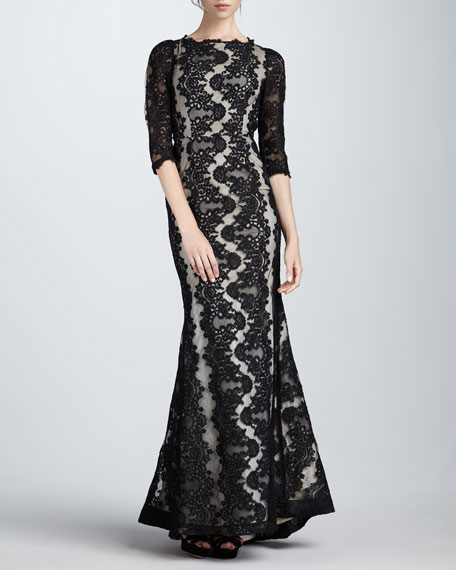 Jae Lace Open-Back Gown