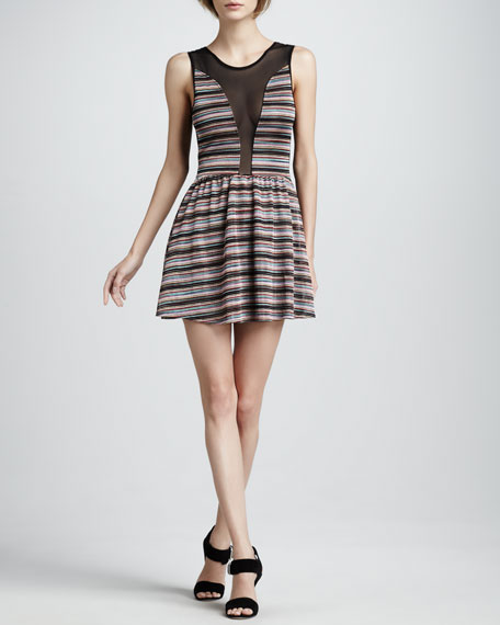 Striped Mesh-Inset Dress