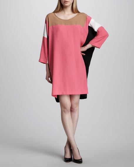 Colorblock Square-Print Dress