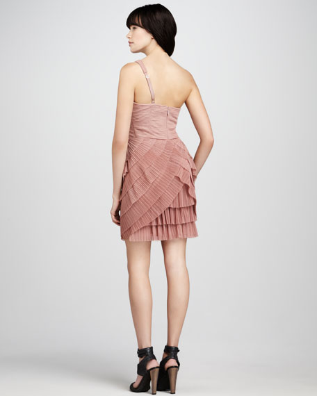 Ella Pleated One-Shoulder Dress