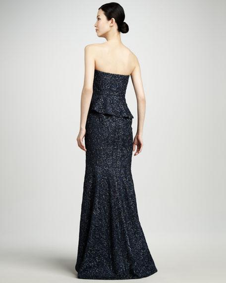 Metallic Strapless Peplum Gown