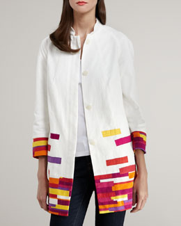 Indikka Colorblock-Trim Jacquard Jacket
