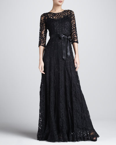 Rickie Freeman for Teri Jon Floral-Lace Gown