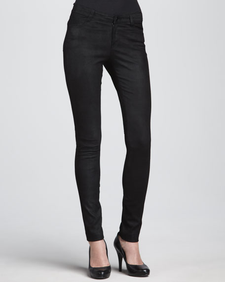Textured Leather Jeans, Black