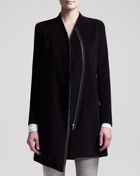 Stretch Moleskin Zip Coat