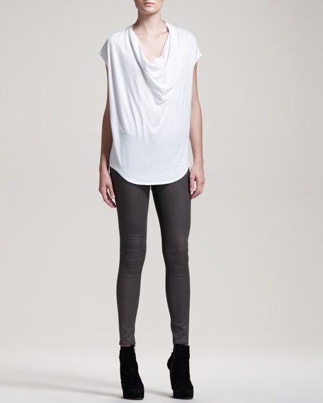 Gloss-Wash Stretch Leggings, Mud Gray