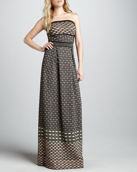 Metallic Strapless Maxi Dress