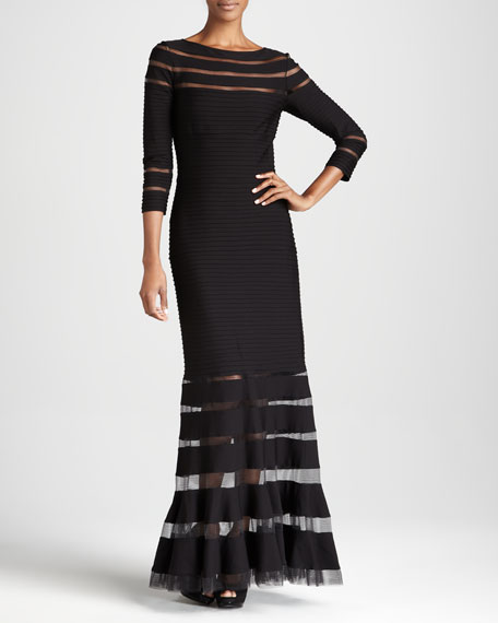 Three-Quarter Sleeve Illusion-Detail Gown