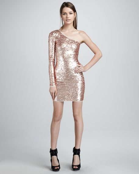 Single-Sleeve Sequined Dress