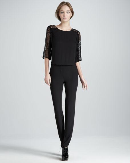 Lace-Top Low-Back Jumpsuit
