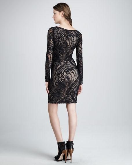 Slim Lace-Overlay Long-Sleeve Dress