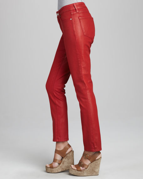 Sheri Coated Skinny Jeans, Jasper Red