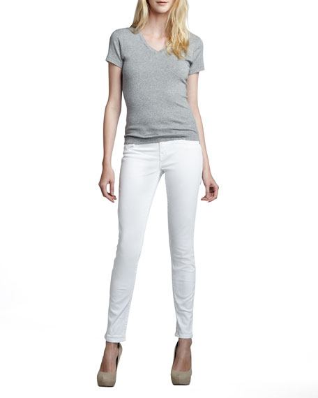 Serena Mid-Rise Super Skinny Jeans with Flap, Optic White