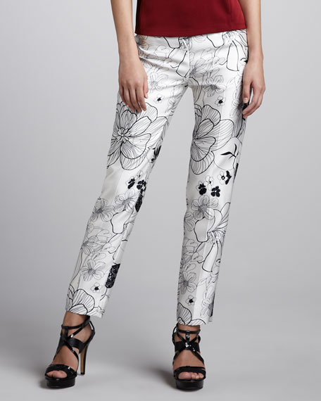 Printed Slim-Leg Trousers