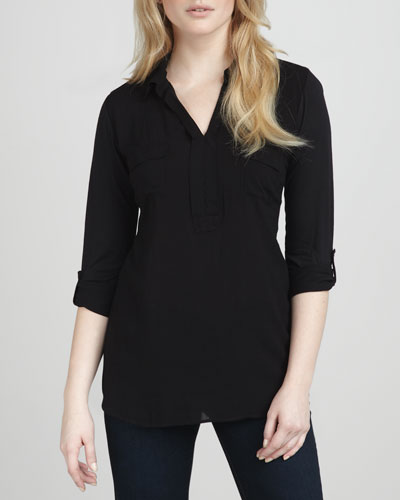 Splendid Double-Placket Top, Black