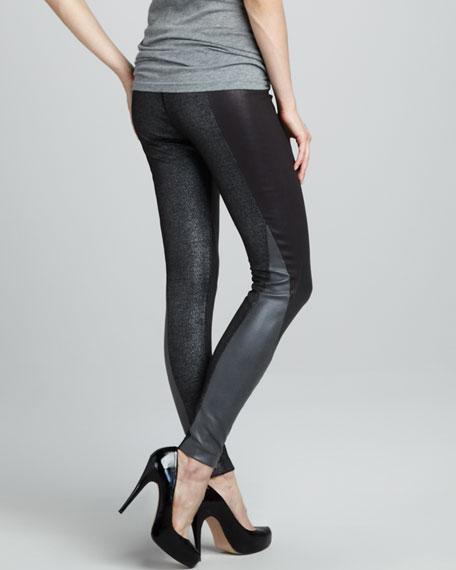 Paneled Zipper-Cuff Leggings