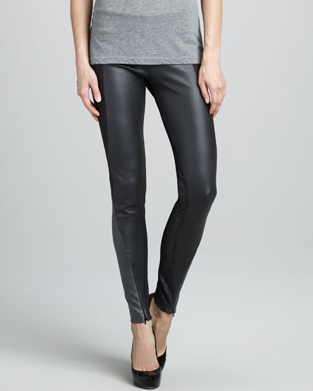 Paneled Zipper-Cuff Leggings