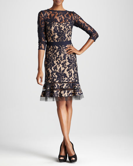 Three-Quarter Sleeve Lace Cocktail Dress