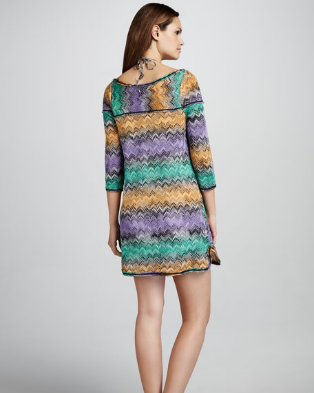 Zigzag Snake-Print Coverup Dress