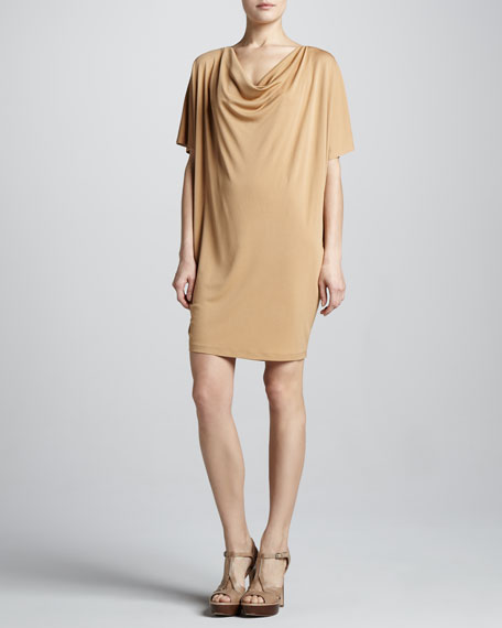 Cowl-Neck Jersey Dress, Suntan