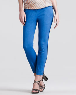 Reed Krakoff Skinny Compact-Canvas Pants, Royal