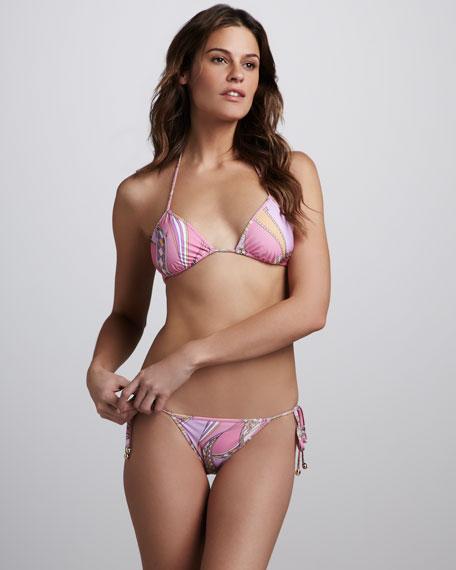 Zagare Printed String Bikini, Peonia