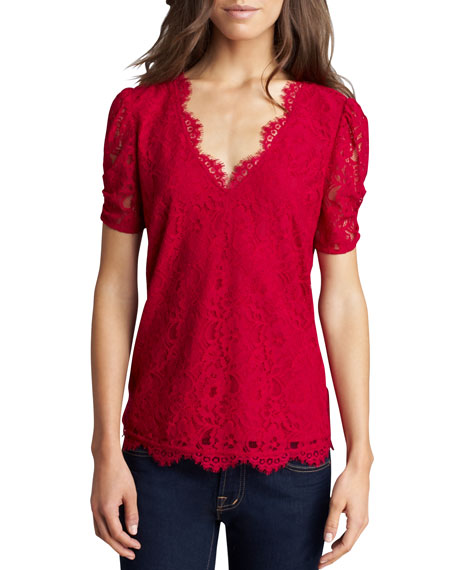 Brianda Lace Top, Red
