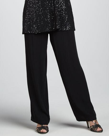 Silk Georgette Straight-Leg Pants
