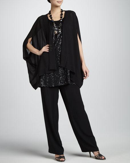 Silk Georgette Straight-Leg Pants, Women's