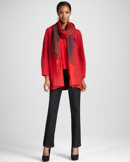 Lightweight Boiled Wool Coat, Garnet, Petite