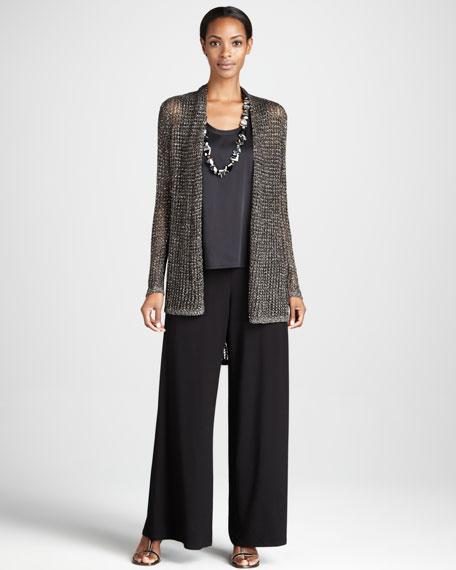 Wide-Leg Silk Jersey Pants, Petite